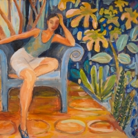 Seated Figure on Patio